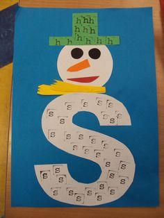 De s van sneeuwpop en de h van hoed.
