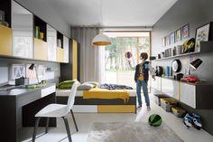 Graphic to Teen's Room Yellow Room Decor, Boys Room Decor, Modern Teen Bedrooms, Modern Bedroom, Bedroom Setup, Bedroom Decor, Bachelor Room, Teenage Room, Single Bedroom