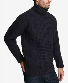 YUNY Men Stripe Spell Color Jacquard Simple Pullover Sweater Tops Black S