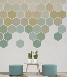 Each honeycomb shape is made from a Self Adhesive textured material which is removable and will not damage your wall. Our geometric decals are ideal for businesses and families and can be used for interior decoration or events. Office Wall Art, Office Walls, Wall Stickers, Wall Decals, Motif Hexagonal, Honeycomb Shape, Geometric Wall Art, Wall Patterns, Wall Painting Patterns