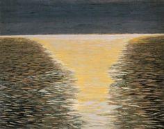 Léon Spilliaert - Seascape with Golden Wake, 1922  Watercolour, gouache, coloured chalk on paper  Offa Gallery, Belgium