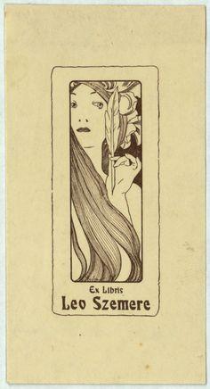 Ex-libris Leo Szemere. Alphonse-Marie Mucha. Cap a 1897