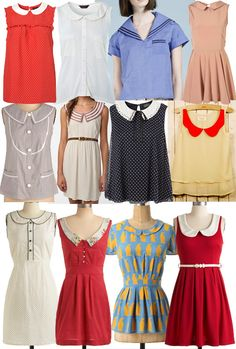 Love this old timey vintage look with the collars- ( bottom rows)