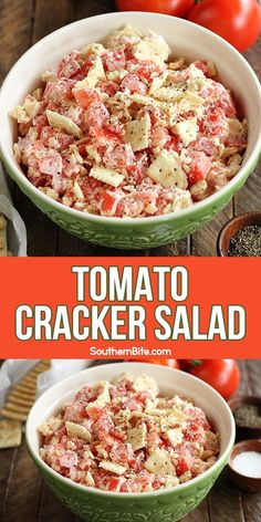 The classic flavors of a Southern tomato sandwich combine in this quick and easy Tomato Cracker Salad recipe It s the perfect side dish to nearly any occasion the summer can throw at you Cooking Recipes, Healthy Recipes, Easy Tomato Recipes, Soul Food Recipes, Healthy Southern Recipes, Quick Salad Recipes, Healthy Food, Tomato Salad Recipes, Chicken Salad Recipes