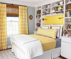 A palette of cheery yellow, soothing slate blue, and creamy white takes the moode from dreary to dreamy: http://www.bhg.com/rooms/bedroom/makeovers/before-and-after-bedroom-makeover/?socsrc=bhgpin040414brightandcozy&page=2