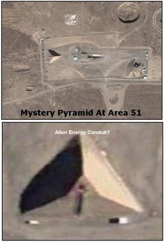 "The secret base at Groom Lake, Nevada also known as ""Area 51"" or ""Dreamland"" has a massive Pyramid, but why? One can only speculate on its purpose but it is reasonable to assume its not just for decoration. Many have speculated that Pyramids could be ancient Alien conduits, able to harvest immense electrical energy from the ether, and transmit it to Motherships or even perhaps across the void of space. #aliens #ufo #area51"