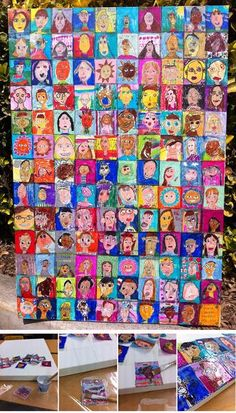Students create miniature self portraits at the beginning of the school year, adhere them on canvas, art for the classroom which can be auctioned off at the end of the school year.