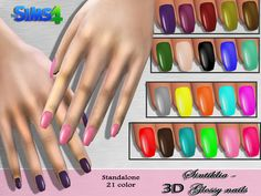 Sintiklia - Glossy Nails Created for: The Sims 4 by SintikliaSims 21 recolors Standalone mesh by me Handpainted texture With thumbnails In Accessories - Rings Created from middle ring, so can wear with other rings Available for making recolors. Sims 4 Nails, Cc Nails, Coffin Nails, Sims 4 Mods, Sims 5, Sims Free Play, Maxis, The Sims 4 Cabelos, Sims 4 Blog