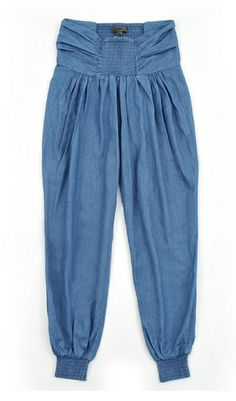 denim harem pants...love these!!! With a white simple tank and brown wedges