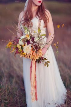 Fall Wedding Inspiration - A Wild & Magical Bridal Shoot in Scotland with Feathers and Warm Colour Palette Bridal Bouquet Fall, Fall Wedding Flowers, Fall Wedding Colors, Fall Wedding Dresses, Flower Bouquet Wedding, Autumn Wedding, Autumn Flowers, Flower Bouquets, Flower Crowns