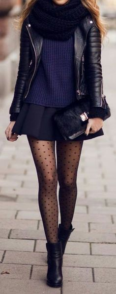 Un joli style habillé par de beaux collants plumetis. Classique et tendance #plumetis #collants #pantyhose  Adorable outfit • black mini skirt • black high boots • leather jacket • black scarf • dotted black tights • blue skimpy top •