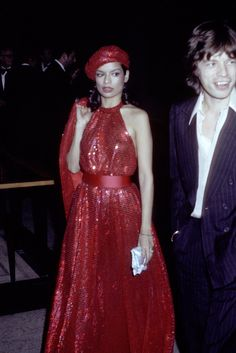 "Bianca and Mick Jagger at the Met Gala feting ""Romantic and Glamorous Hollywood Design,"" November 1974."