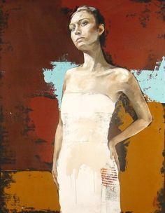 "Sentinal 43""x33"" oil, mixed media on canvas"