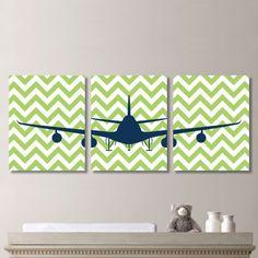 Airplane Aviation Chevron Print Trio   Home by RhondavousDesigns2
