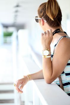 Blame it on Mei Miami Fashion Blogger Swim Week 2016 Summer Look Casual Outfit Striped Matching Set Peplum Top with Shorts and Baublebar Choker Hermes Clic Clac H Bracelet Gucci Soho Crossbody Wood Wedges