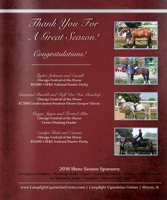 Thank You for a Great Season Congratulations    Lamplight Equestrian Center