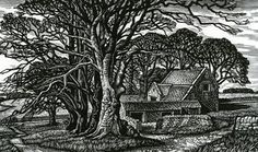 Howard Phipps, Cotswold Field Barn, Wood engraving