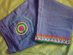 colorful crochet jeans
