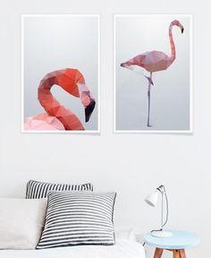 Geo Flamingo als Premium Poster