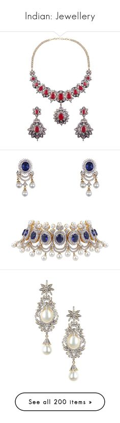 """Indian: Jewellery"" by twinkle-twin ❤ liked on Polyvore featuring jewelry, necklaces, ruby jewelry, white sapphire necklace, filigree jewelry, ruby jewellery, filigree necklace, earrings, sapphire jewellery and sapphire jewelry"