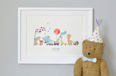 Animals on Parade Nursery Art Picture Giclée by DaisyandBumpArt, £28.00