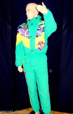 fb27e32872 SORRY Ski Suit Vintage 80 s neon onesie made in ITALY Size 48 UK L Rare  Retro