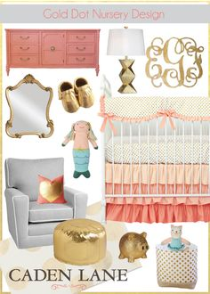 Gold Dot Nursery Design - Gold dots are everywhere! Caden Lane's Coral and Gold Dot Ruffle crib bedding sets the tone for your gold nursery design and style.