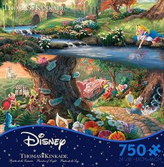 A simply gorgeous scene, Alice in Wonderland (Thomas Kinkade Disney Dreams) features Alice at a stream and all the beautiful wonders of the land hidden in the foreground. Thomas Kinkade Disney Puzzles, Disney Jigsaw Puzzles, Walt Disney Movies, Disney Disney, Puzzle Shop, Rainy Day Activities, Christmas Toys, Alice In Wonderland, Ebay