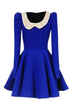 Peter Pan Collar Blue Dress [NCSKX0371] - $159.99 : #JulepColorChallenge #CreateYourJulepColor