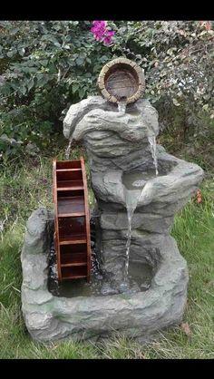 3 Tier Rock Patio Water Wheel Fountain  Patio  Outdoor Garden Decor Lighted
