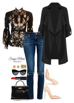 Untitled #96 by stylistsonyamarie on Polyvore featuring polyvore fashion style Roberto Cavalli AG Adriano Goldschmied Christian Louboutin Hermès Accessorize STELLA McCARTNEY NARS Cosmetics Marc by Marc Jacobs clothing
