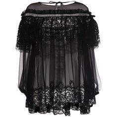 Alberta Ferretti     Chiffon Ruffle Lace Insert Blouse (£1,045) ❤ liked on Polyvore featuring tops, blouses, black, frill blouse, ruffle blouses, chiffon tops, ruffle top and chiffon ruffle top