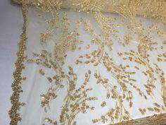 Marvelous feather bridal wedding beaded mesh by KINGDOMOFFABRICS