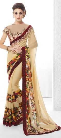 172573: Beige and Brown color family Party Wear Sarees, Silk Sarees with matching unstitched blouse.