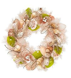 Wind and Weather Floral Shell Wreath *** This is an Amazon Affiliate link. Click image for more details.