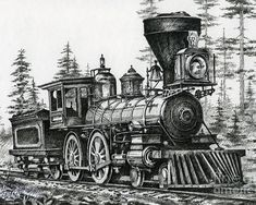 The Age Of Steam Drawing in vintage train drawing collection - ClipartXtras Train Pictures, Art Pictures, Locomotive Diesel, Steam Locomotive, Train Tattoo, Train Drawing, Old Steam Train, Train Art, Old Trains