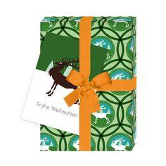 4er Set: Frohe Weihnachten – Weihnachts Geschenkpapier mit Hirschen und Karten, grün