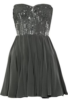 gray and shimmery.  me likes. wish there were skinny straps or something though