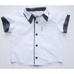 Koszula biała z białymi kropeczkami - Sklep internetowy Grusie