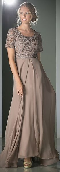 A short-sleeved floor length mocha chiffon dress with lace covered sleeves and bodice and silk cord trim overlay. Simple beading adds a hint of sparkle and the square neckline adds to the charm. Mother Of Bride Outfits, Mother Of The Bride Gown, Mother Of Groom Dresses, Mothers Dresses, Wedding Dresses Plus Size, New Wedding Dresses, Plus Size Dresses, Mob Dresses, Dressy Dresses