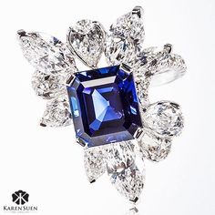 6.28ct Burma unheat sapphire set amongst white diamonds to create a one of a kind and rare statement ring with an amazing depth of color. Visit us from Sep 15-19 at Hong Kong Jewellery and Gem Fair to view my latest creations! @karen.suen  #KarenSuen #KarenSuenFineJewellery #Gemstone #Unique #BurmaSapphire #Sapphire #Diamonds #Designer #Craftsmanship #Jewellery #HongKongJewelleryandGemFair2016 #Craftsmanship #HighEnd #KualaLumpur #Malaysia #Jakarta #Doha #Bahrain #Qatar #Kuwait #London…