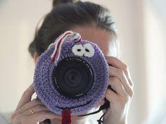 Crochet buddy. Tired buddy. Camera buddies. Lens critter. Photographer helper. Crochet accessory. Photo Prop. Camera Lens Accessory.
