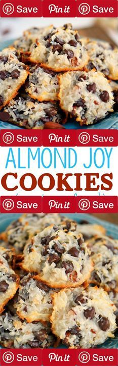 Almond Joy Cookies - Just 4 Ingredients 17 mins to make makes 3 dozen Ingredients Baking & Spices 2 cups Semi-sweet chocolate chips Nuts & Seeds 2/3 cup Almonds lightly salted 1 14 oz bag Coconut flakes sweetened Other 1 14 oz can Sweetened condensed milk (regular or fat-free works)