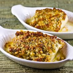 Baked White Fish with Pine Nut, Parmesan, and Basil Pesto Crust      Ingredients:  2 white fish fillets, about 6 oz. each (I used halibut but you could use cod, tilapia, grouper, or any mild white fish)  3 T pine nuts  2 T Parmesan Cheese  1/4 tsp. finely minced garlic (1 garlic clove)  1 tsp. basil pesto (I used purchased pesto)  1 1/2 T mayo (use regular or light mayo, not fat-free)