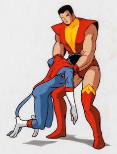 Animation Art:Production Cel, X-Men: The Animated Series Colossus and NightcrawlerProduction Cel (Saban Entertainment, 1992). ...