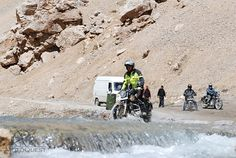 Stream crossing in the Himalaya mountains. Photo taken on our India Touch the Sky Motorcycle Trip. Click here to find out more: https://www.motoquest.com/guided-motorcycle-tour.php?india-himalayan-adventure-motorcycle-tours-19