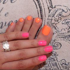 New Manicure Pedicure Colors Combinations 41 Ideas Nails Opi, Manicure And Pedicure, My Nails, Mani Pedi, Manicures, Pedicure Ideas, Orange Toe Nails, Pink Nails, Nail Art Designs