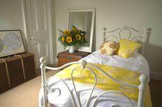 Larkspur fabric in bedroom set up  www.lupinlark.com