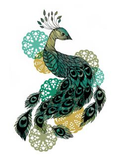 Peacock 30x42 cm 12x165 inch by SofieRolfsdotter on Etsy, $33.00