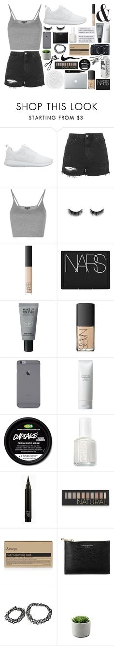 """""""Does running out of fries count as exercise?"""" by miarichardson ❤ liked on Polyvore featuring NIKE, Topshop, shu uemura, NARS Cosmetics, MAKE UP FOR EVER, Shiseido, Essie, Forever 21, Aesop and Aspinal of London"""